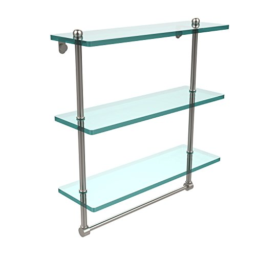 Allied Brass PR-5/16TB-SN 16 Inch Triple Tiered Glass Shelf with Integrated Towel Bar, Satin Nickel