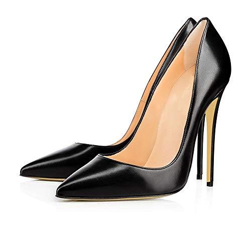 Donna Slip Stiletto Heel On Caitlin 45 Toe Eu Matte Black 35 Pan Pumps High Col Dress Formal Size Scarpe Shoes Tacco Pointed Pv5x7Sqv
