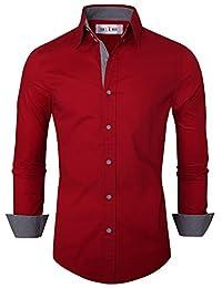 Tom's Ware Mens Premium Casual Inner Layered Dress Shirts TWNMS314S-WINE-M (US S)