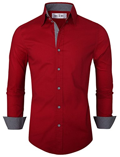 Tom's Ware Mens Premium Casual Inner Contrast Dress Shirt TWNMS314S-WINE-US XL