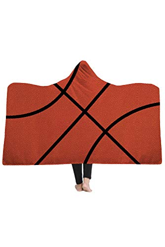 Basketball Hooded (Hibuyer Oversized Soccer Pattern Hooded Sherpa Blanket Soft Printed American Football Fans Cloak (Basketball))