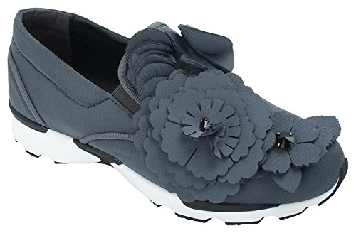 Annakastle New Womens Flower Embellished Sneaker ,Charcoal,US 7,B(M)