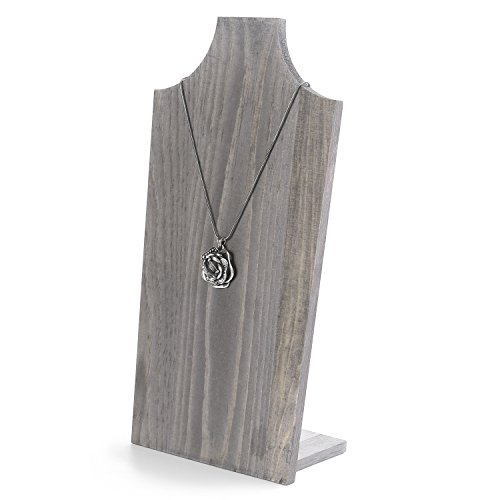 MyGift Rustic Barnwood Gray Free-Standing Necklace Easel Display Stand Holder ()