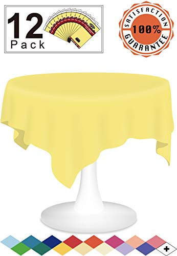 12 Pack Plastic Tablecloth Light Yellow Disposable Table Covers Premium 84 Inches Round Table Cloth for Round Tables up to 6 Feet and for Picnic BBQ Birthdays Weddings Events Occasions, PEVA Material