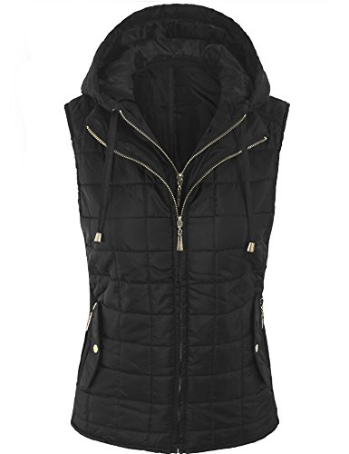 BOHENY Womens Quilted Fully Lined Lightweight Vest with Hoodie-L-BLACK_HOODIE
