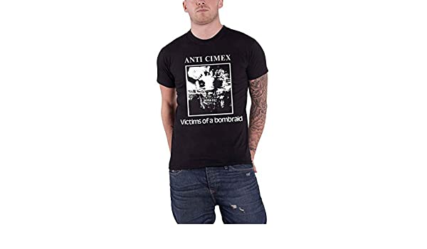 Amazon.com: Anti Cimex T Shirt Victims of A Bombraid Band Logo Official Mens Black: Clothing
