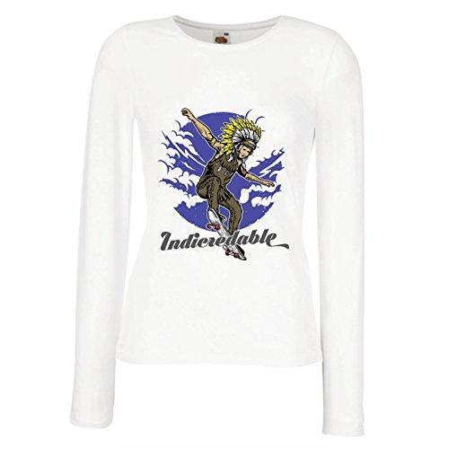 lepni.me Camisetas de Manga Larga para Mujer Indicredable - Diseño de monopatín, Solo para Patinadores Profesionales...