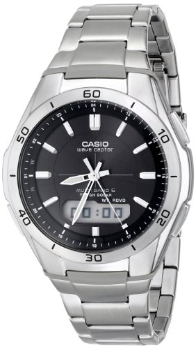 Casio Men's WVA-M640D-1ACR Wave Ceptor Analog-Digital Stainless Steel Bracelet Watch Digital Solar Bracelet