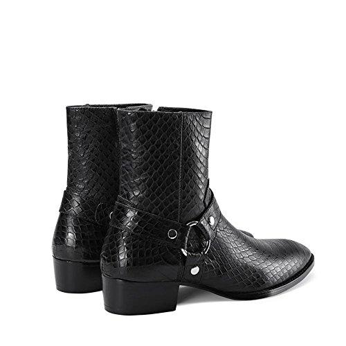Jinfu Chelsea Botas Hombres Cremallera De Cuero Negro Vestido Botas Botines Zapatos Formales