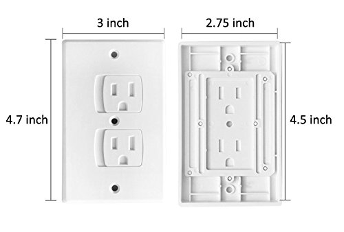 Electrical Outlet Covers Universal Self-Closing Outlet Plugs,Child Safety Guards Socket Plugs Protector,BPA Free,4 Pack, Hardware Included by MooMoo Baby (Image #6)