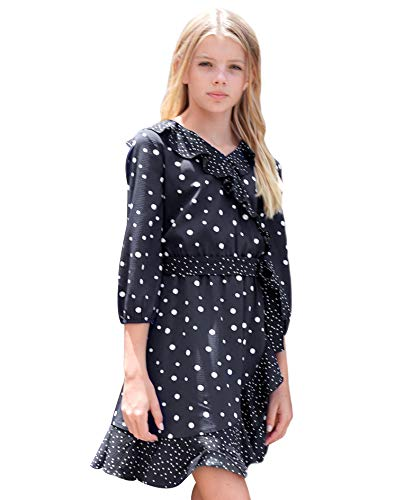 Smukke, Big Girls Beautiful Printed Long Sleeves Dress (with Options), 7-16 (Black Polka-Dot, 12) ()