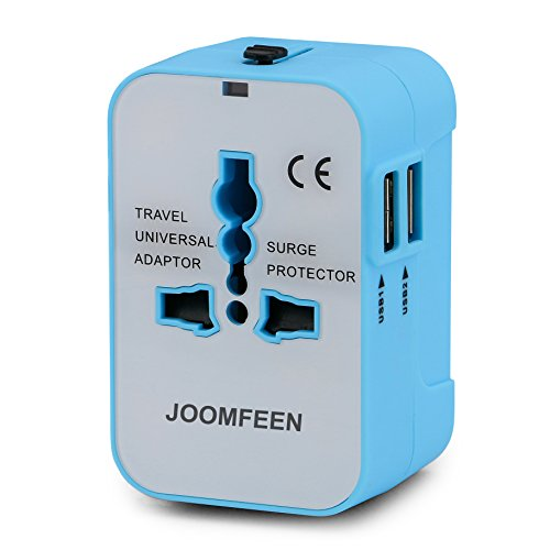 Travel Adapter, JOOMFEEN Worldwide All in One Universal Power Converters Wall AC Power Plug Adapter Power Plug Wall Charger with Dual USB Charging Ports for USA EU UK AUS Cell Phone Laptop-Blue/White ()