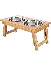 Voerbak Voerbakken hond hout Eetbak huisdieren met 2 kommen en houten onderstel Makkelijk in- en uitklapbaar Dubbele Voeder