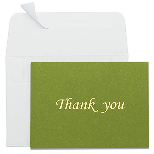 Thank You Cards Gold Foil Letterpress Design 50 Pack Thank You