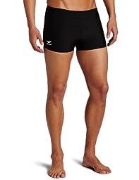 Speedo Men\'s Endurance+ Polyester Solid Square Leg Swimsuit, Black, 34