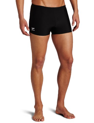 Speedo Men's Endurance+ Polyester Solid Square Leg Swimsuit, Black, - Swim Mens Suit