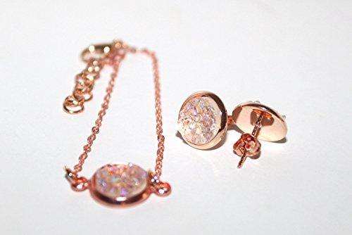 - Stud Earrings + Bracelet Jewelry Set / Clear White & Rose Gold Plated Druzy / 10 mm / Bridesmaid 3, 4, 5, 6, 7, 8, 9, 10 / Gift for her