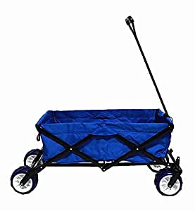 Huayue Folding Outdoor Utility Wagon Camping Beach Garden Shopping Cart (Blue)