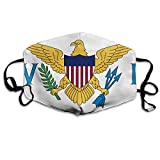Flag Of The United States Virgin Islands Flu Dust Masks Reusable Cotton Breathable Safety Respirator for Outdoor Cycling Face Earloop Masks Dust Pollen Flu Germs Allergens Masks