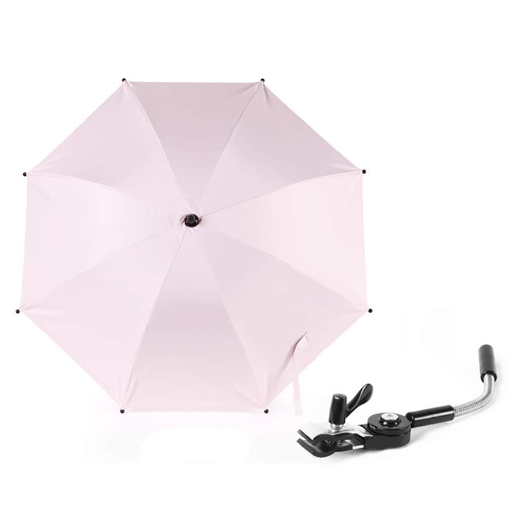 ACOMG Parasol Umbrella for Pram,Baby Sunshade,UV Protection in Summer, 360° Adjustable,Universal Fit Any Infant Prams,Pink