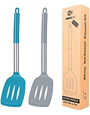 Pack of 2 Silicone Slotted Spatula, Non Stick Kitchen Turners, High Heat Resistant BPA Free Kitchen Utensils, Ideal Cookware for Frying Fish, Eggs, Meat,French Fries (Gray-Blue)