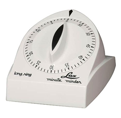 - Lux Minute Minder Long Ring Timer Mechanical White 60 Min by Browne Foodservice