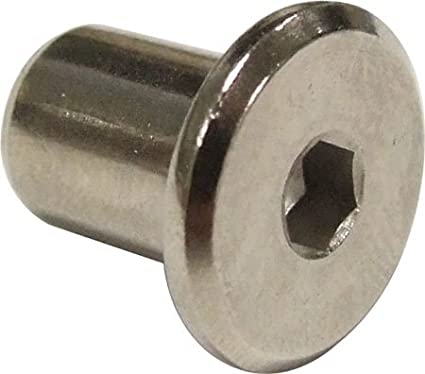 Pack of 4 x 6mm Furniture Sleeve Nuts - Bed Bolt Fittings silver coloured haf