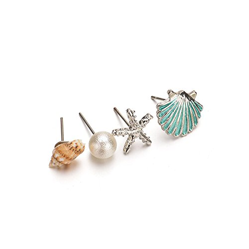 Pearl Set Lovely (WLLAY Trendy Ocean Style Conch Shell Pearl and Sea Star Earrings 4Pair/Set Ear Stud Wedding Party Jewelry Gift (Blue))