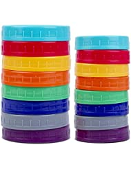 16 Pack Colored Plastic Mason Jar Lids for Ball, Kerr and More - 8 Regular Mouth & 8 Wide Mouth - Food-Grade Recyclable Plastic Storage Caps for Mason, Canning Jars - Anti-Scratch Resistant Surface