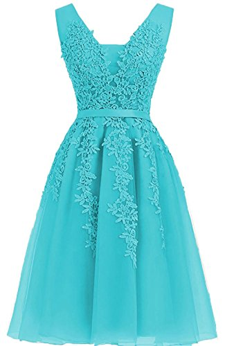 Neck Party BR2 Mini Short Dress Homecoming V Lace Applique Bridesmaid Turquoise Gowns Prom Hdq18