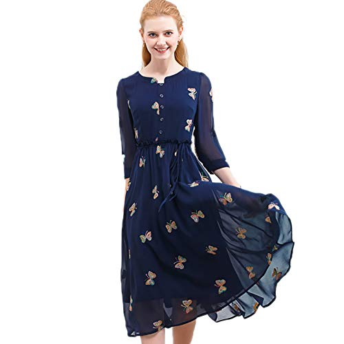 Onlyplus Autumn Embroidery Chiffon Dress Casual Butterfly Cute O-Neck Women Party Long Dresses (Butterfly Long Dress)