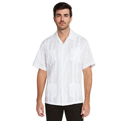 9 Crowns Essentials Men's Guayabera Button Down Shirt-White-Large