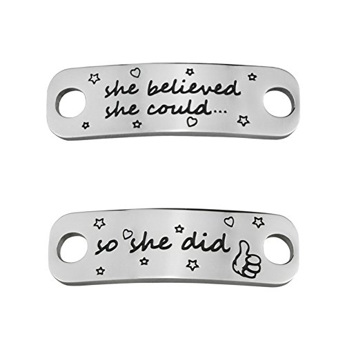 Rantanto 1 Pair Shoe Lace Tag Inspirational Shoe Lace Charm For Female (WL0303 She Believed She Could)