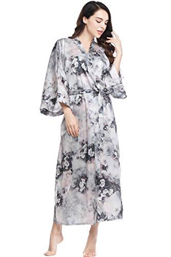 BABEYOND Womens Kimono Robe Long Floral Wedding Robes for Bridesmaids Satin Silk Kimono Nightgown Sleepwear 53