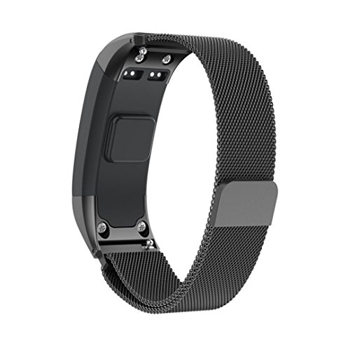 SUKEQ For Garmin Vivosmart HR Bands, 2018 New Milanese Magnetic Replacement Strap Stainless Steel Accessories Wristband For Garmin Vivosmart HR (Black) by SUKEQ
