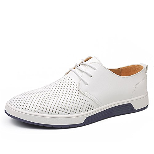 KONHILL Men's Casual Oxford Shoes Breathable Flat Fashion Lace-up Dress Shoes, White, 45 by KONHILL (Image #1)