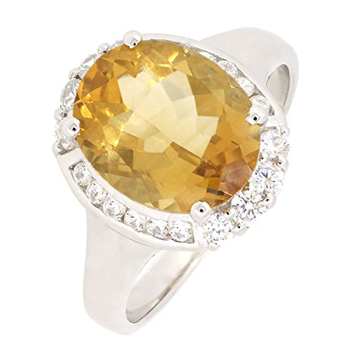 Sterling Silver Oval Genuine Citrine Halo Ring (3 1/4 CT.T.W)