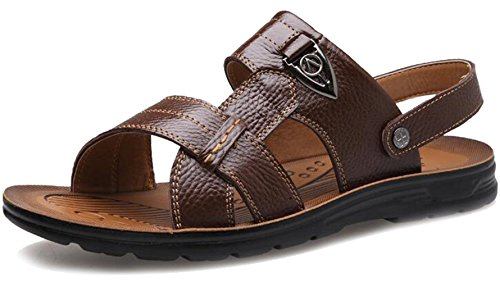 Mens Casual Available Size Slipper Flat Sandals Leather PPXID Sandbeach Brown Big FxXdOzF