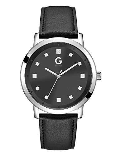G-By-Guess-Mens-Silver-Tone-Black-Crystal-Dial-Watch