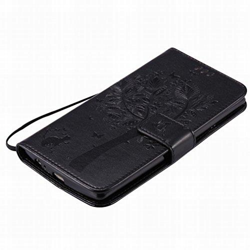 Custodia LG G4 / H815 / H812 / H810 / H811 / LS991 Cover Case, Ougger Alberi Gatto Printing Portafoglio PU Pelle Magnetico Stand Morbido Silicone Flip Bumper Protettivo Gomma Shell Borsa Custodie con