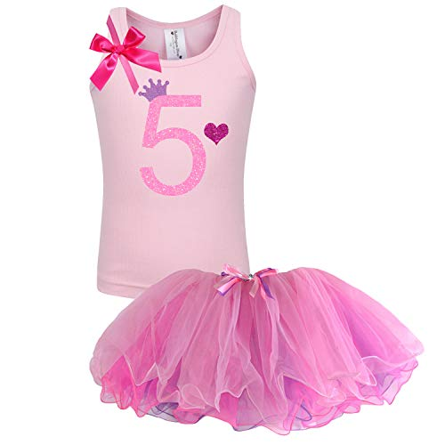Bubblegum Divas Little Girls' 5th Birthday Shirt Princess Tutu Outfit 5 Pink]()