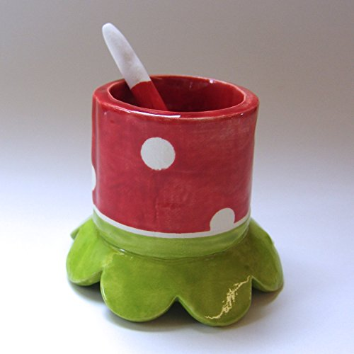 Mary Sugar Spoon - cute Salt dish or Sugar bowl w/ ceramic spoon
