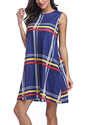 Vrkufie Women's Summer Casual T-Shirt Dress Sleeveless Plaid Printed Swing Tank Sundress with Side Pockets