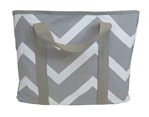 carolina-sweethearts-grey-chevron-collapsible-insulated-tote-bag