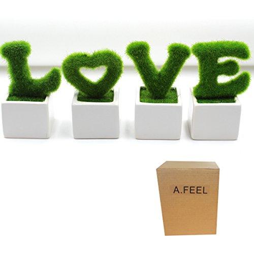 LOVE Set of 4 Artificial L.O.V.E Plants Small home Decor Table Tree White ceramic