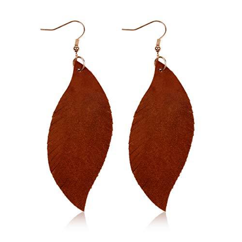 RIAH FASHION Teardrop Genuine Leather Drop Earrings - Lightweight Petal Leaf Hook Dangles Cowhide, Calf Hair, Leopard (Suede Feather - Brown)