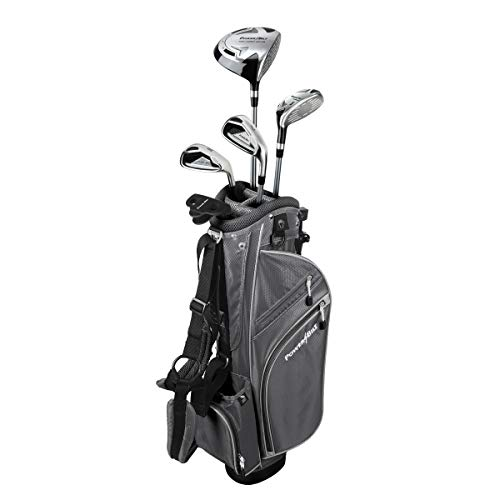(Powerbilt Junior Kids Boy's Ages 9-12 Golf Club Set, Left Hand, Silver)