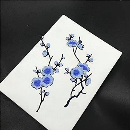6 Pcs Big Plum Blossom//Small Slice of Plum Blossom Iron On Patches Embroidery Flower Appliques 14.1x7.5 17X8cm 36x19cm //6.7X3.3 Blue
