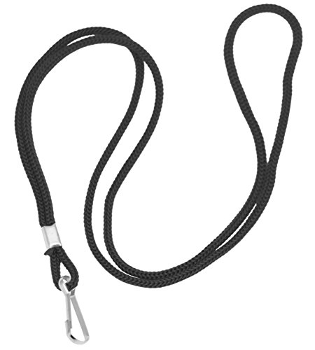 Mato & Hash Nylon Lanyard with J-Clasp for ID Cards, Passes, Refs - 12PK Black ()