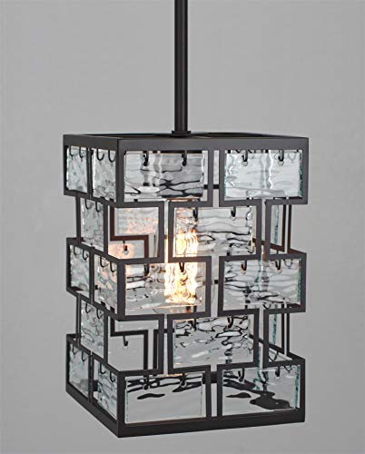Kira Home Mirage 10 Modern Pendant Light with Textured Glass Panels, Adjustable Height, Oil Rubbed Bronze Finish